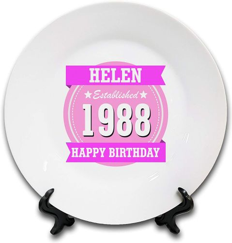 "8"" 'Personalised Happy Birthday Established.' Novelty Ceramic Plate & Stand - Pink"